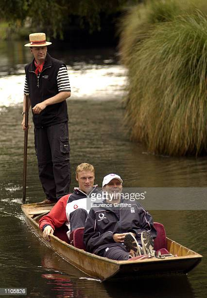 England players Andrew Flintoff and Matthew Hoggard enjoy a punt down the River Avon in Christchurch New Zealand DIGITAL IMAGE Mandatory Credit...