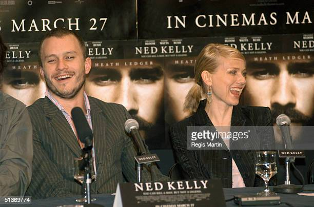 19 March 2003 HEATH LEDGER NAOMI WATTS at the press conference for the movie Ned Kelly at the state reference library Melbourne Victoria Australia
