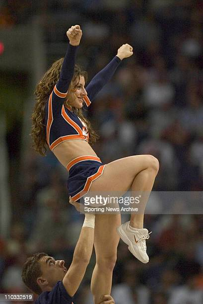 A cheerleader of the Syracuse Orangeman during the Orangeman's 8071 loss to the Alabama Crimson Tide in the Sweet 16 of the NCAA Tournament at...
