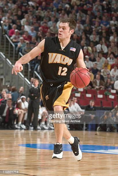 Greg Tonagel of the Valparaiso Crusaders during the Crusaders 7649 loss to the Gonzaga Bulldogs in the first round of the NCAA Tournament at Key...