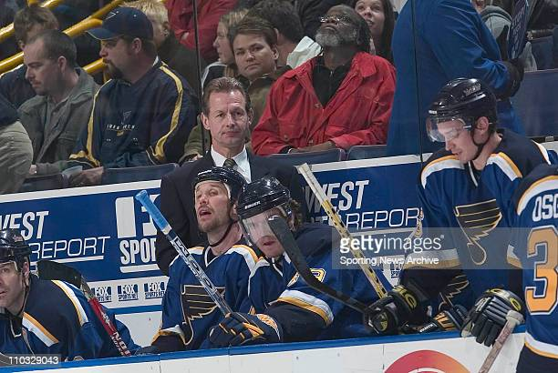Head coach Mike Kitchen of the St. Louis Blues during the Blues 3-0 loss to the Calgary Flames at the Savvis Center in St. Louis, MO.