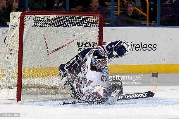 Jussi Markkanen of the Edmonton oilers during the Oilers 1-0 loss to the St. Louis Blues at the Savvis Center in St. Louis, MO.