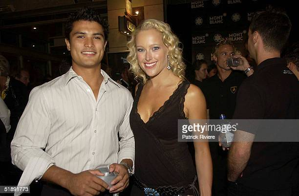 23 March 2004 Rugby League player CRAIG WING and model ALI MUTCH at the exclusive MONTBLANC boutique for the launch of their latest STARWALKER...