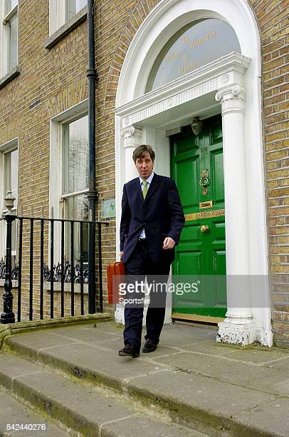 11 March 2005 John Delaney who has been announced as the new Chief Executive of the Football Association of Ireland leaves the FAI offices in Merrion...