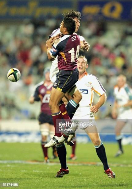 March 2006, Gaffie du Toit and Henari Veratau during the Super 14 match between the Vodacom Cheetahs and the Reds at Vodacom Park in Bloemfontein,...