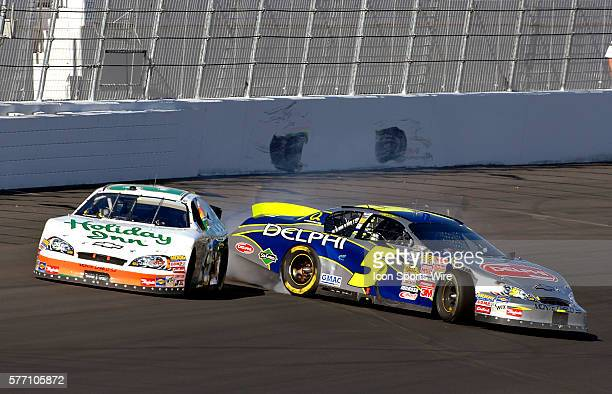 Jeff Burton and and Kyle Busch make contact coming to the finish line during the Sam's Town 300 NASCAR Busch Grand National race at the Las Vegas...