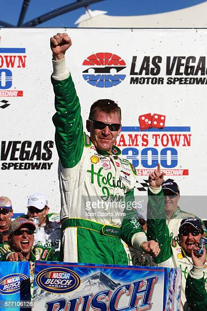 Jeff Burton celebrates after winning the Sam's Town 300 NASCAR Busch Grand National race at the Las Vegas Motor Speedway in Las Vegas NV