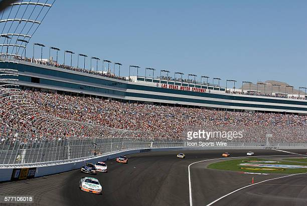 Race winner Jeff Burton leads the Sam's Town 300 NASCAR Busch Grand National race at the Las Vegas Motor Speedway in Las Vegas Nevada
