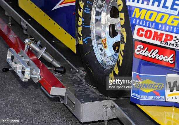 Michael Waltrip's race car undergoing a pre race inspection beforethe start of race action at the NASCAR Sprint Cup Series UAW-Dodge 400 race being...