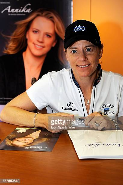 Annika Sorenstam signs autographs while launching her new perfume named