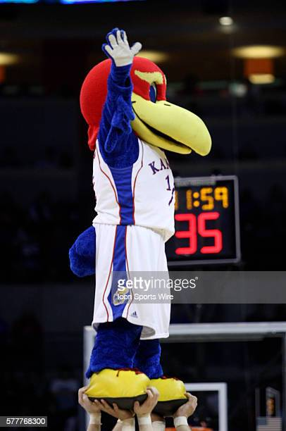 Kansas Jayhawk mascot is held up by cheerleaders during the University of Kansas Jayhawks 9074 win over Lehigh University at the Ford Center during...