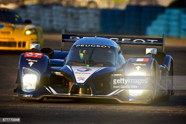 The Peugeot 908 HDI FAP of Marc Gene Anthony Davidson and Alexander Wurz races to victory in the 12 Hours of Sebring Sebring International Raceway...