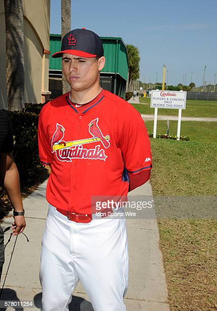Aledmys Diaz is introduced to the media at the St Louis Cardinals spring training facility at Roger Dean Stadium in Jupiter FL The St Louis Cardinals...