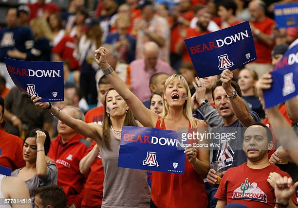 Arizona fans during the men's Pac12 basketball tournament game between the UCLA Bruins and the Arizona Wildcats at the MGM Grand Garden Arena in Las...