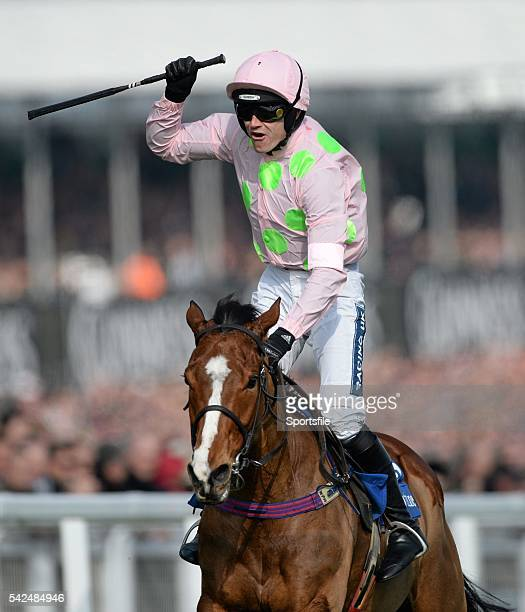 12 March 2014 Jockey Ruby Walsh celebrates victory on Faugheen as they cross the finishline to win the Neptune Investment Management Novices' Hurdle...