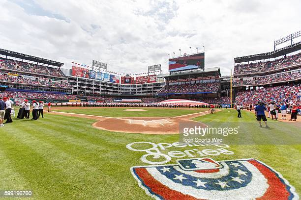 Pregame ceremony prior to the MLB Opening Day game between the Texas Rangers and Philadelphia Phillies at the Globe Life Ballpark in Arlington TX...