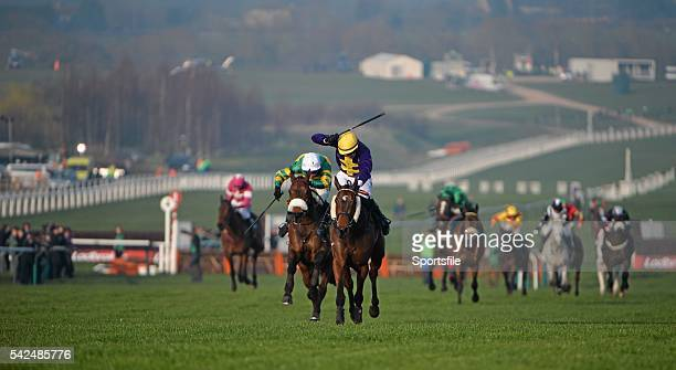 13 March 2014 Spring Heeled with Robbie McNamara up leads Cause of Causes with Nina Carberry up on their way to winning the Fulke Walwyn Kim Muir...