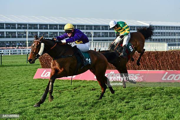 13 March 2014 Spring Heeled with Robbie McNamara up races ahead of Cause of Causes with Nina Carberry up who lands badly after jumping the last on...