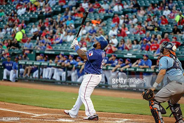 Texas Rangers first baseman Prince Fielder hits a home run on his first swing during the MLB spring training game between the Texas Rangers and...