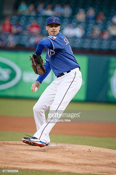 Texas Rangers starting pitcher Tanner Scheppers in action during the MLB spring training game between the Texas Rangers and Tigres de Quintana Roo at...