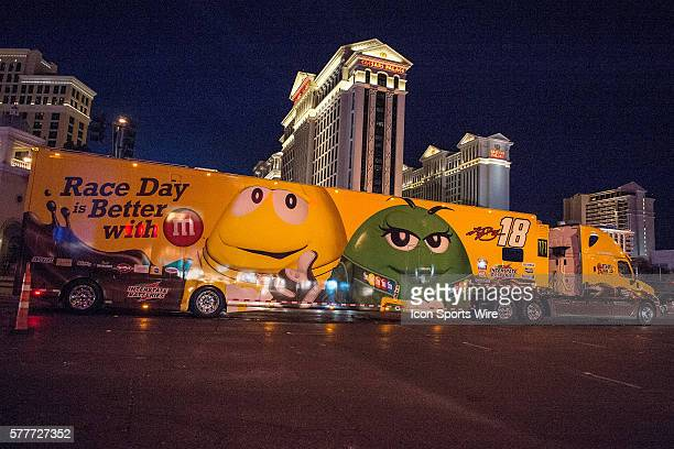 The hauler carrying Kyle Busch's race car participating in the NASCAR Hauler Parade, on Las Vegas Boulevard in Las Vegas, Nv