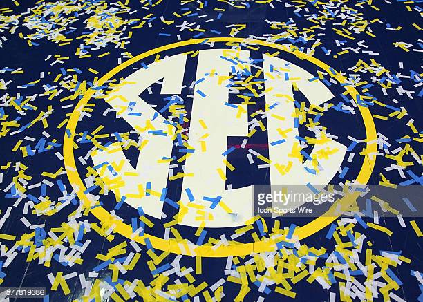 The SEC logo in the paint is covered with confetti in the Florida Gators 6160 victory over the Kentucky Wildcats in the SEC Tournament at The Georgia...