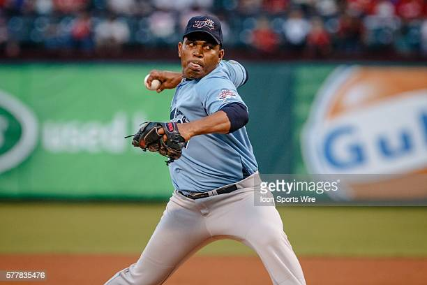 Tigres de Quintana Roo starting pitcher Amaury Sanit in action during the MLB spring training game between the Texas Rangers and Tigres de Quintana...