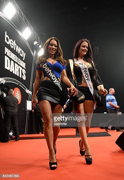 27 March 2014 Walkon girls Hazel O'Sullivan and Jess Impiazzi right during week eight of the Betway Premier League Darts The O2 North Wall Quay...