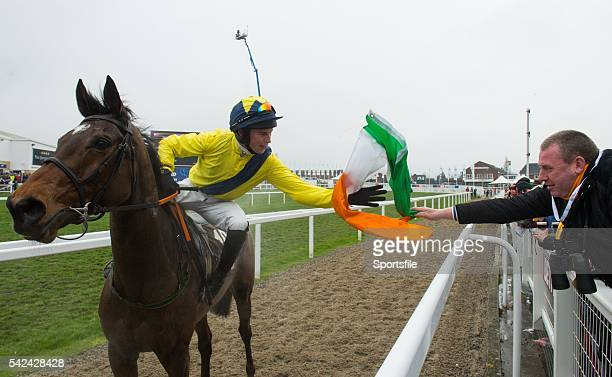 13 March 2015 Adrian Heskin on Martello Tower is handed a try colour by John Butterly from Clondalkin in dublin after winning the Albert Bartlett...