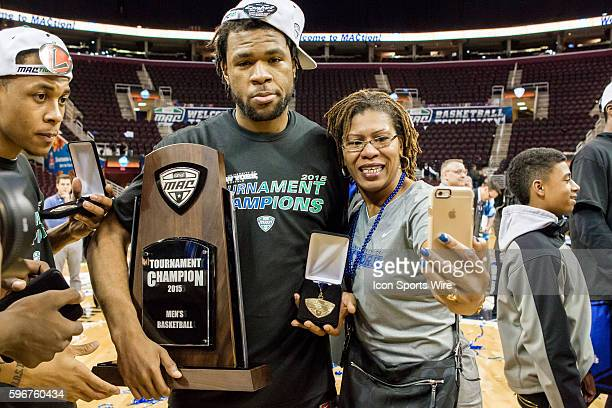 Buffalo Bulls F Justin Moss takes a selfie with his mother following the MAC Men's Basketball Tournament Championship game between the Buffalo Bulls...