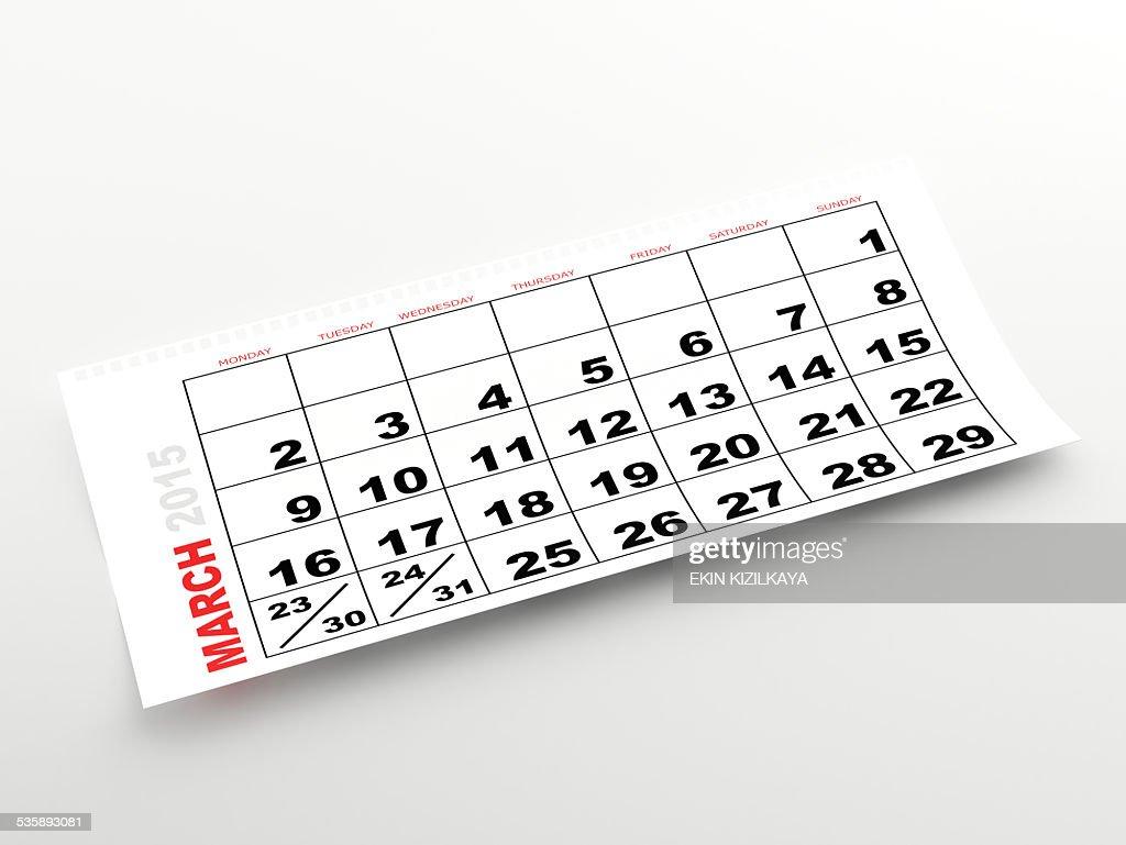 Calendrier mois de mars 2015. : Photo