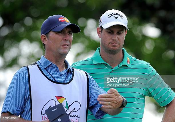 Harris English with his caddie during the second round of the Arnold Palmer Invitational at Arnold Palmer's Bay Hill Club Lodge in Orlando Florida