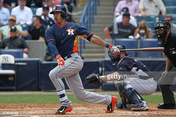 Houston Astros shortstop Carlos Correa during the Major League Baseball Spring Training game between the Houston Astros and New York Yankees at...