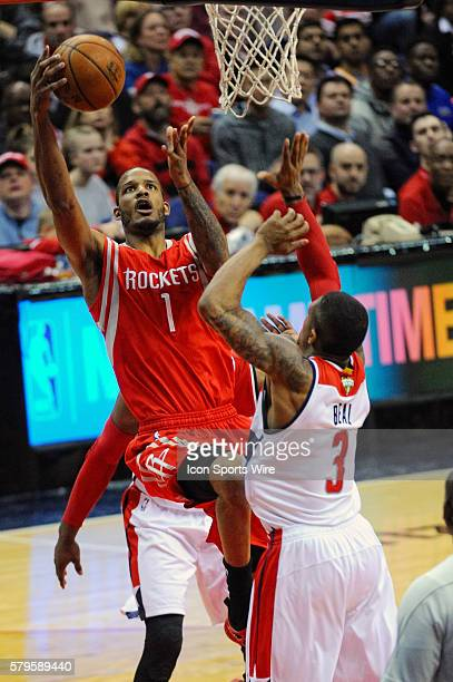 Houston Rockets forward Trevor Ariza in action against Washington Wizards guard Bradley Beal at the Verizon Center in Washington DC where the Houston...