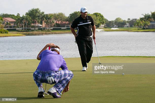 Ian Poulter England Patrick Reed Texas play the 18th Hole in the Third round of The Honda Classic at PGA National Resort Spa Champion Course in Palm...