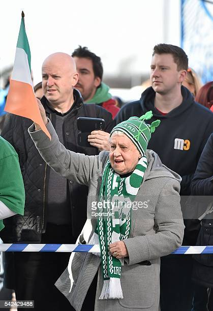 21 March 2015 Ireland supporter Betty Corcoran originally from Bray Co Wicklow but living in Airdrie Scotland cheers the Ireland team's arrival into...