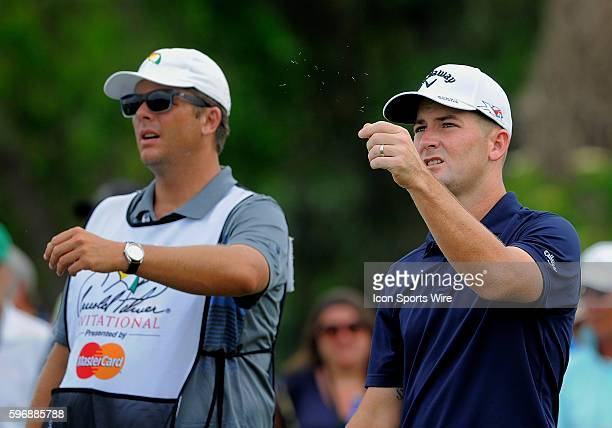 Matt Every checking the wind on the 7th tee box during the final round of the Arnold Palmer Invitational at Arnold Palmer's Bay Hill Club Lodge in...