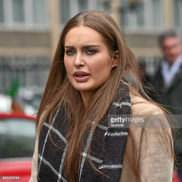 1 March 2015 Model Roz Purcell makes her way to the game RBS Six Nations Rugby Championship Ireland v England Aviva Stadium Lansdowne Road Dublin...