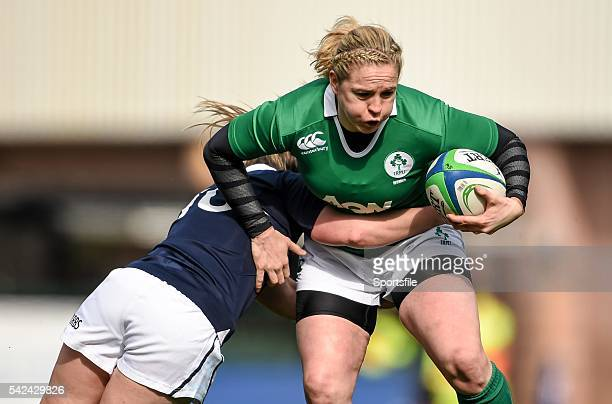 March 2015; Niamh Briggs, Ireland, is tackled by Lisa Martin, Scotland. Women's Six Nations Rugby Championship, Scotland v Ireland. Broadwood...