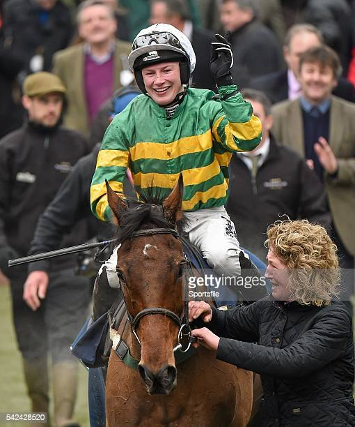 13 March 2015 Nina Carberry on On The Fringe after winning the Foxhunter Chase Cheltenham Racing Festival 2015 Prestbury Park Cheltenham England...