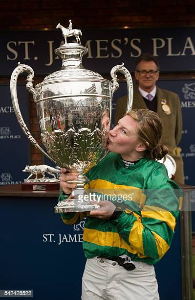 13 March 2015 Nina Carberry with the Foxhunter Chase trophy after winning on On The Fringe Cheltenham Racing Festival 2015 Prestbury Park Cheltenham...