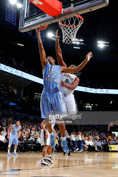 North Carolina Tar Heels forward Isaiah Hicks shoots as Georgia Tech Yellow Jackets forward Charles Mitchell defends in the first half of the North...