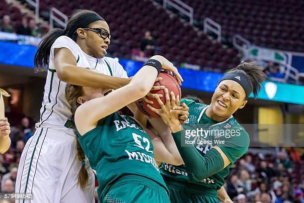 Ohio Bobcats F Jasmine Weatherspoon battles Eastern Michigan Eagles G/F Jamaica Bucknor and Eastern Michigan Eagles G Phillis Webb for a rebound...