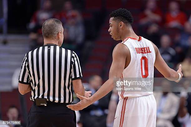 Ohio State Buckeyes guard D'Angelo Russell argues a call with a ref in action during a game between the Ohio State Buckeyes and the Minnesota Golden...