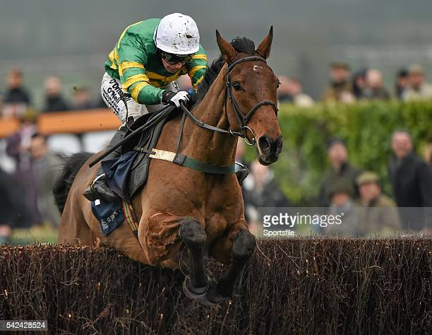 13 March 2015 On The Fringe with Nina Carberry up jump the last on the way to winning the Foxhunter Chase Cheltenham Racing Festival 2015 Prestbury...