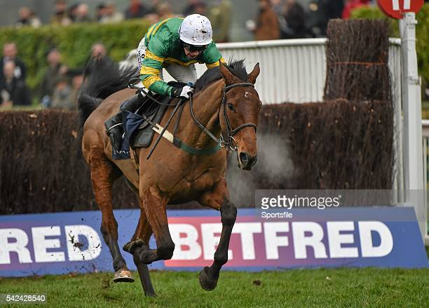 13 March 2015 On The Fringe with Nina Carberry up on the way to winning the Foxhunter Chase after jumping the last Cheltenham Racing Festival 2015...