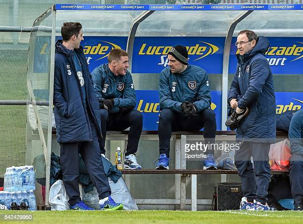 23 March 2015 Republic of Ireland manager Martin O'Neill with players who sat out squad training from left Stephen Ward James McCarthy and Darron...