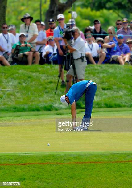 Rory McIlroy showing how flexible he is after missing a birdie on the 8th during the final round of the Arnold Palmer Invitational at Arnold Palmer's...