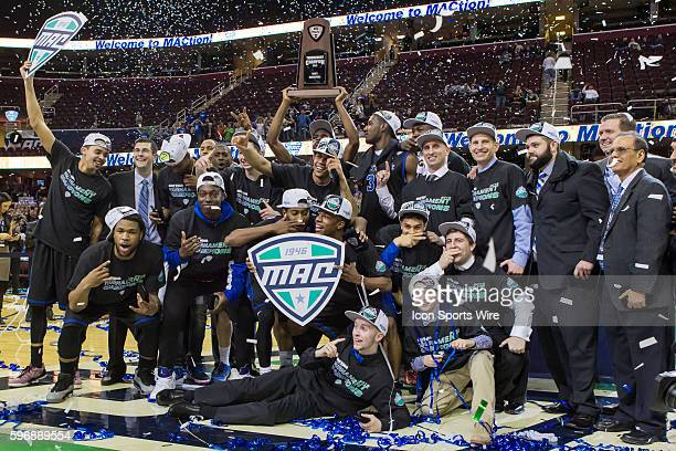 The Buffalo Bulls celebrate following the MAC Men's Basketball Tournament Championship game between the Buffalo Bulls and Central Michigan Chippewas...
