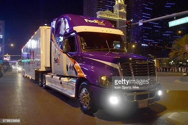 The hauler of NASCAR Sprint Cup driver Denny Hamlin driving in the Hauler Parade on Las Vegas Blvd Las Vegas Nv